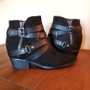 Black scrappy ankle boots